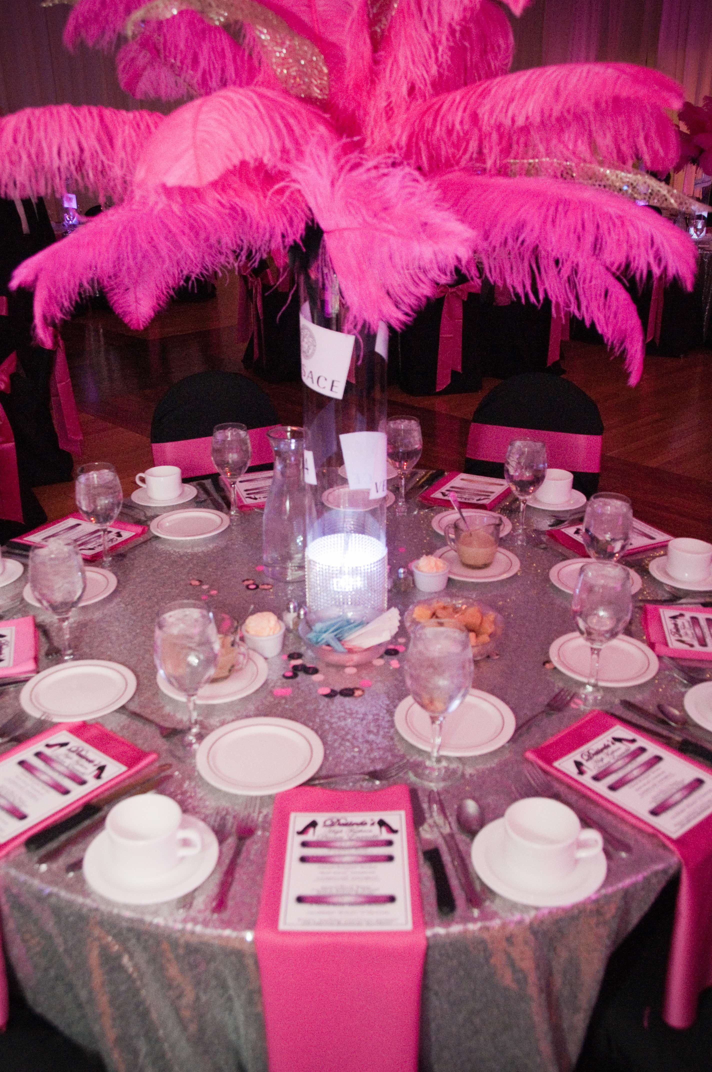 silver table linens pink feathers